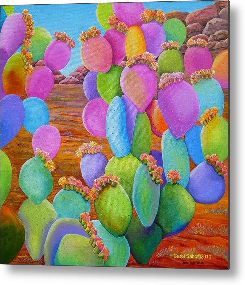 Cactus Metal Print featuring the painting Prickly Pear Cactus-eye Candy by Carol Sabo
