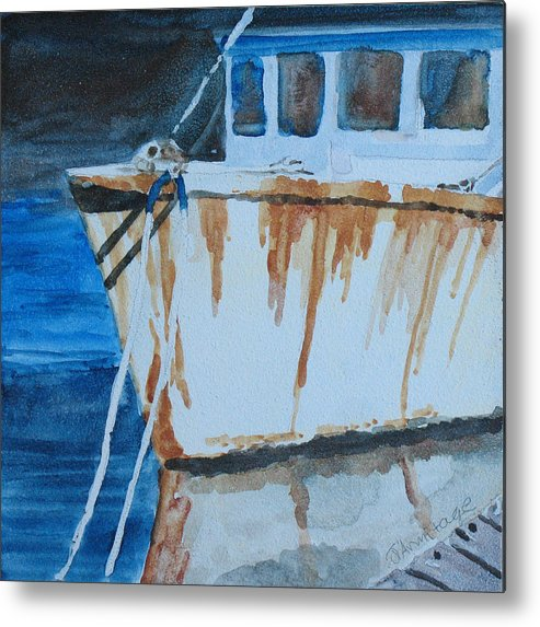 Boat Metal Print featuring the painting Prow Reflected by Jenny Armitage