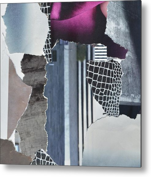 Abstract City Metal Print featuring the mixed media Purple City by Michelle Hold