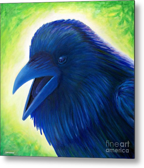 Raven Metal Print featuring the painting Raaawk by Brian Commerford