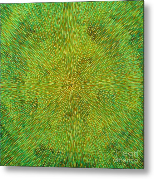 Abstract Metal Print featuring the painting Radiation With Green Yellow And Orange by Dean Triolo