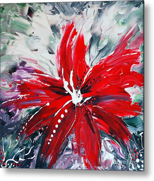 Abstract Metal Print featuring the painting Red Beauty by Teresa Wegrzyn