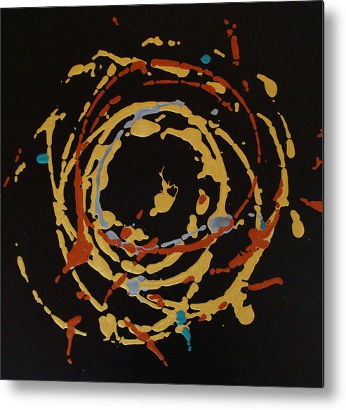 Abstract Metal Print featuring the painting Solaris by Holly Picano