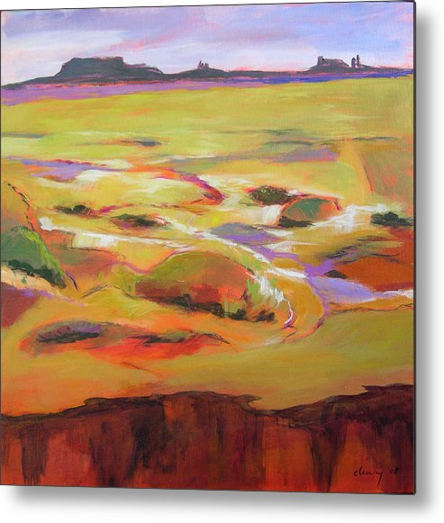 Landscape Metal Print featuring the painting Southwest Stillness 1 by Melody Cleary