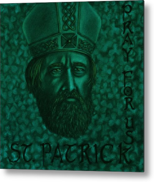 Saint Metal Print featuring the drawing St Patrick by Jered Klodt