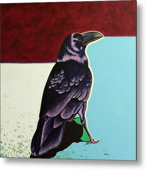 Wildlife Metal Print featuring the painting The Gossip - Raven by Joe Triano