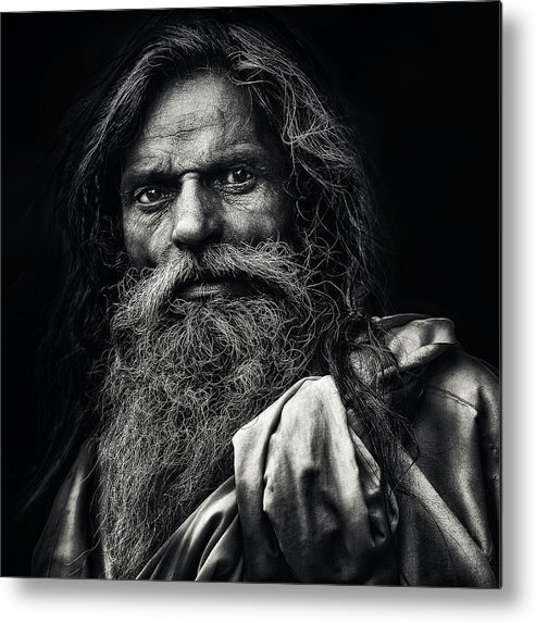 Portrait Metal Print featuring the photograph The Man From Agra by Piet Flour