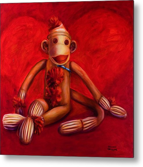 Children Metal Print featuring the painting Valentine by Shannon Grissom