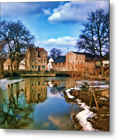 Village Metal Print featuring the photograph Village Reflections by Cathy Anderson