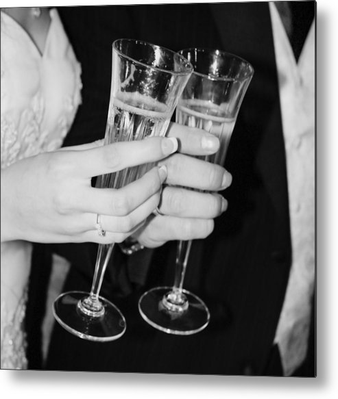 Champagne Metal Print featuring the photograph Wedding Toast by Valerie Loop