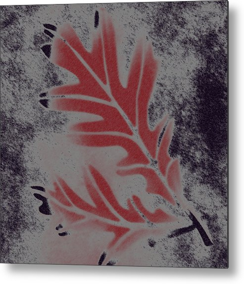 Leaf Metal Print featuring the digital art White Oak Leaf by Lovina Wright
