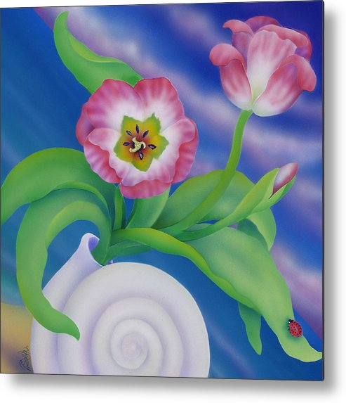 Marcia Perry Metal Print featuring the painting Ladybug And Tulips by Marcia Perry