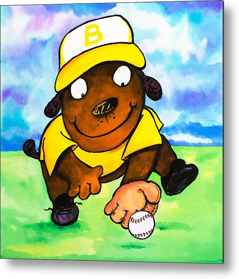 Dog Metal Print featuring the painting Baseball Dog 3 by Scott Nelson