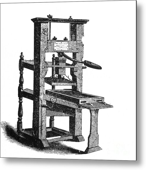 Invention Metal Print featuring the photograph Benjamin Franklins Printing Press by Science Source
