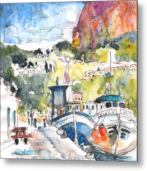 Travel Metal Print featuring the painting Calpe Harbour 05 by Miki De Goodaboom
