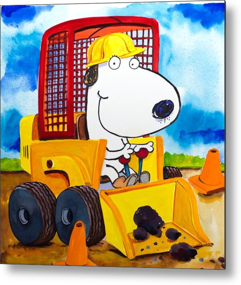 Dog Metal Print featuring the painting Construction Dogs by Scott Nelson