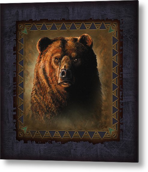 Wildlife Metal Print featuring the painting Grizzly Lodge by JQ Licensing