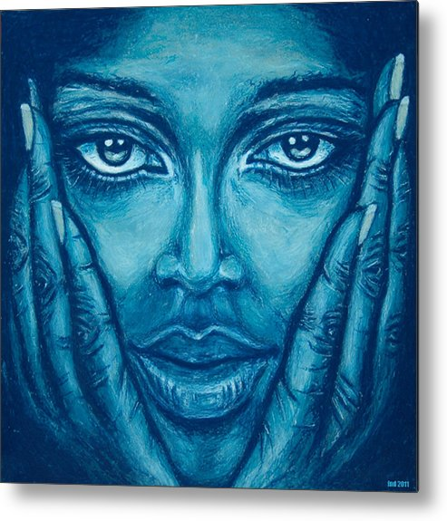 Blue Metal Print featuring the pastel Look At Me by FND Myks