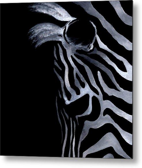 Zebra Metal Print featuring the painting Profile Of Zebra by Natasha Denger