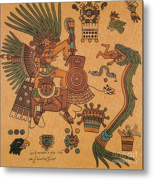 History Metal Print featuring the photograph Quetzalcoatl, Aztec Feathered Serpent by Photo Researchers