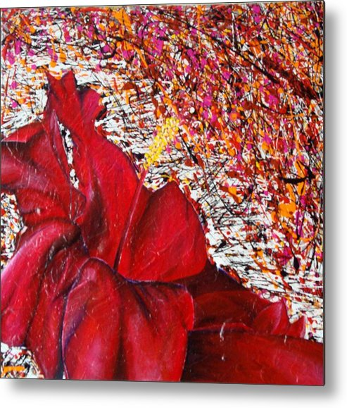 Tulip Metal Print featuring the painting Red by Sandra Navarro