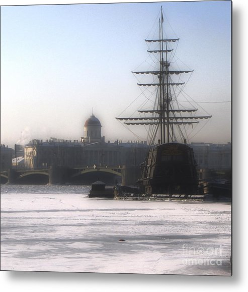 Ship Metal Print featuring the photograph Ship On Neva River by Yury Bashkin