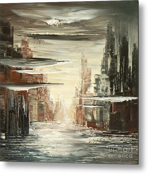 City Metal Print featuring the painting Surreal Sidelines by Tatiana Iliina