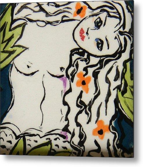 Mermaid Metal Print featuring the ceramic art Sweet Mermaid by Patricia Lazar