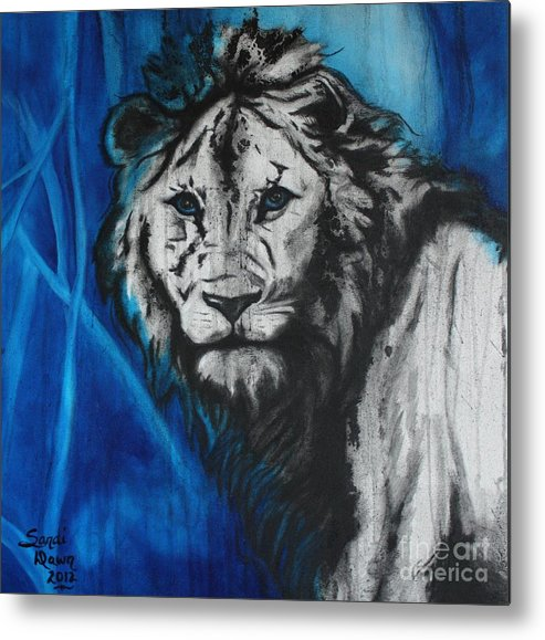 Lion In Natural Environment Metal Print featuring the mixed media Where I Belong by Sandi Dawn McWilliams