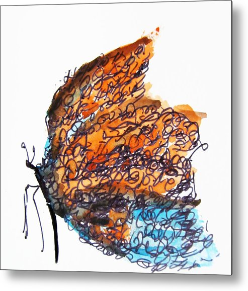 Butterfly Metal Print featuring the painting Adorned by Trilby Cole