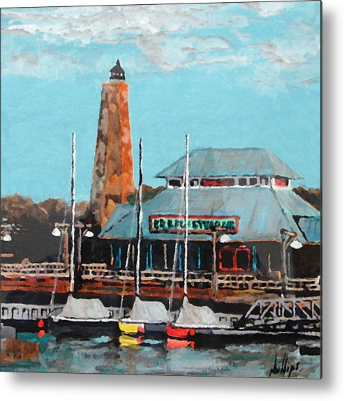 Restaurant Metal Print featuring the painting Eb And Flo's Steamhouse by Jim Phillips