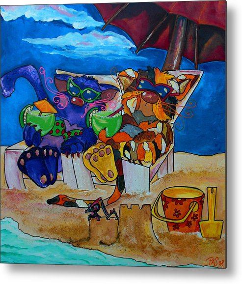 Cats Metal Print featuring the painting Fat Cats Catchin Rays by Patti Schermerhorn
