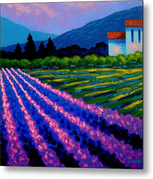 Landscape Metal Print featuring the painting Lavender Field France by John Nolan