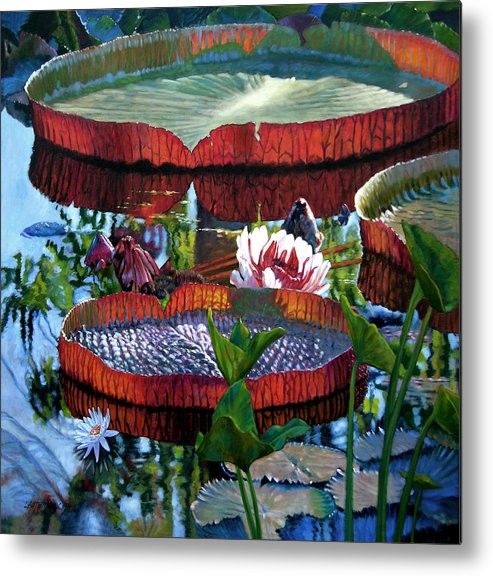 Water Lilies Metal Print featuring the painting Sunlight Shining Through by John Lautermilch