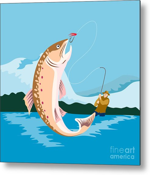 Fly Fisherman Metal Print featuring the digital art Fly Fisherman Catching Trout by Aloysius Patrimonio
