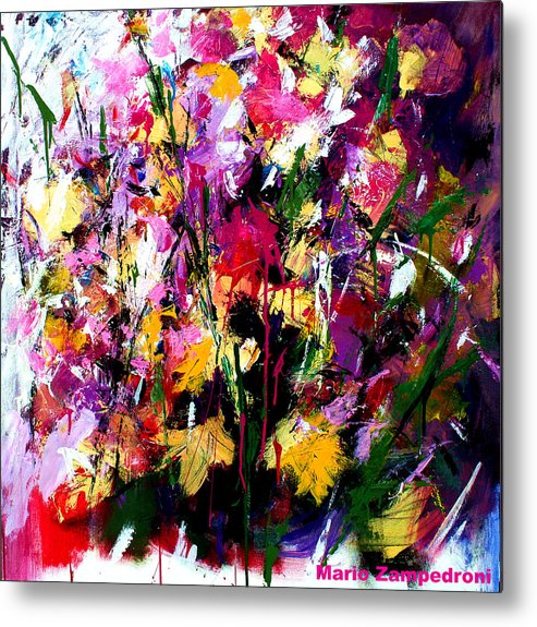 Fucsia Metal Print featuring the painting Flowers by Mario Zampedroni