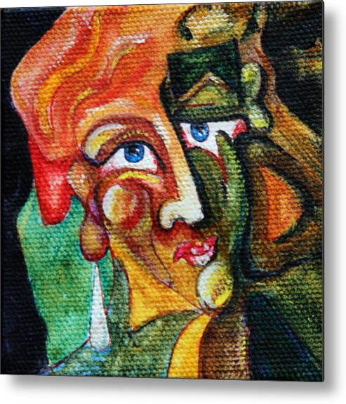 Abstract Portrait Metal Print featuring the painting A Cast Of Characters Six by Dan Earle