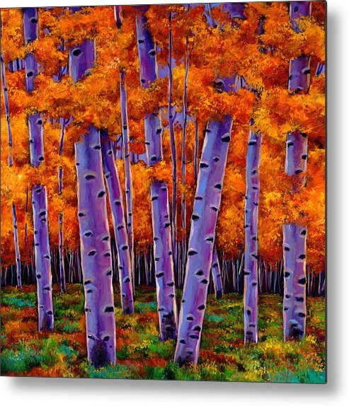 Aspen Trees Metal Print featuring the painting A Chance Encounter by Johnathan Harris