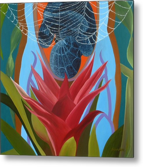 Spider Metal Print featuring the painting A Spider Baby by Sunhee Kim Jung