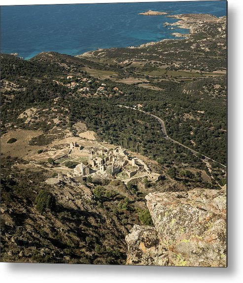 Ancient Metal Print featuring the photograph Abandoned Village Of Occi And The Coast Of Corsica by Jon Ingall