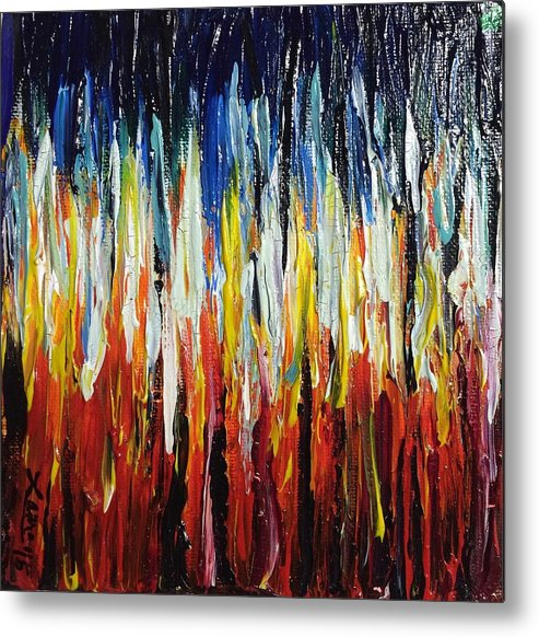 Fire Metal Print featuring the painting Abstract Fire And Ice by Laura Parker