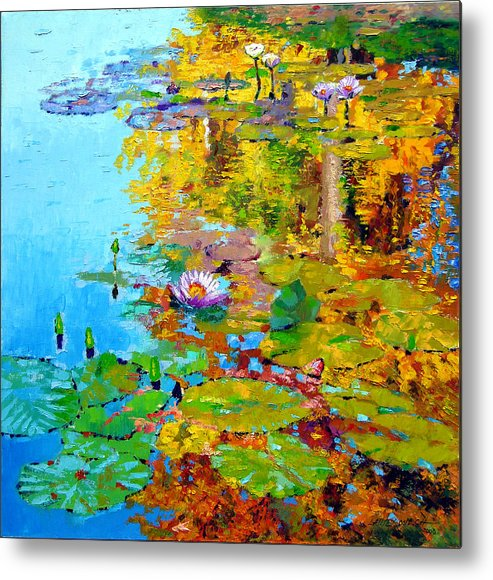 Fall Metal Print featuring the painting Aglow With Fall by John Lautermilch