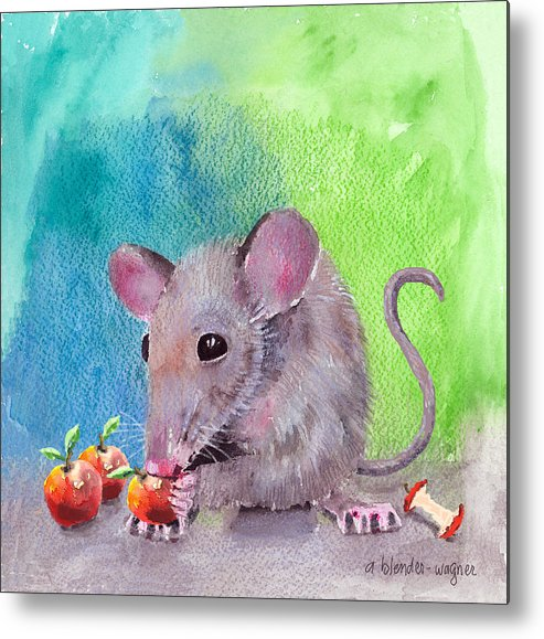 Mouse Metal Print featuring the mixed media An Apple A Day by Arline Wagner