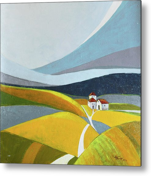 Landscape Metal Print featuring the painting Another Day On The Farm by Aniko Hencz