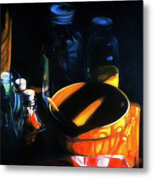 Still Life Metal Print featuring the painting Antique Crock And Mason Jar by Patricia Reed