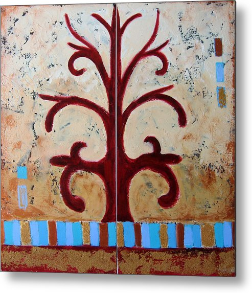 Tree Metal Print featuring the painting Antiquity by Aliza Souleyeva-Alexander