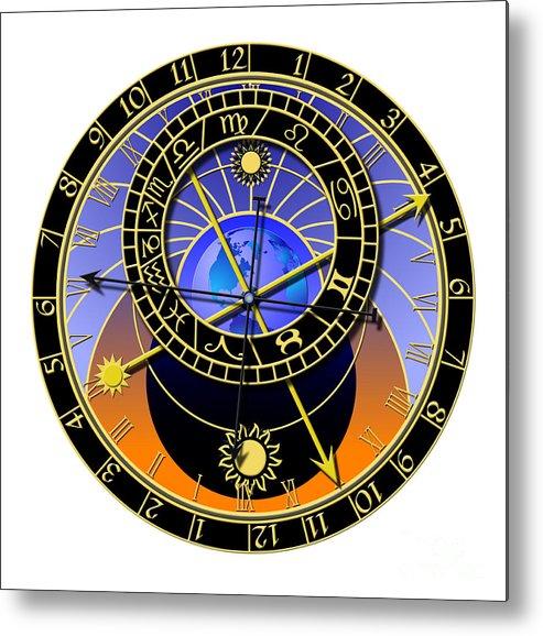 Abstruse Metal Print featuring the digital art Astronomical Clock by Michal Boubin
