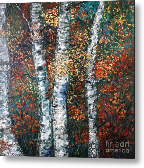 Birch Metal Print featuring the painting Autumn Birch by Nadine Rippelmeyer