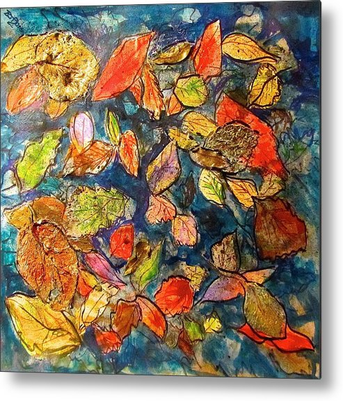 Leaves Metal Print featuring the mixed media Autumn Leaves by Barbara O'Toole