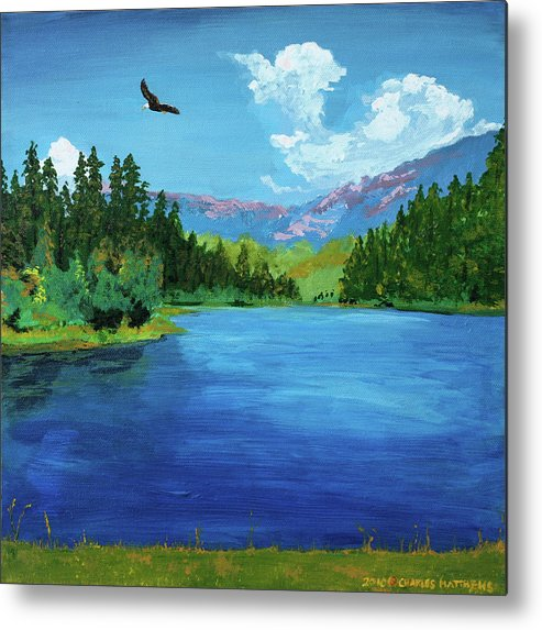Bald Eagle Metal Print featuring the painting Bald Eagle At Hume Lake - Psalm 103 Verse 5 by Charles and Stacey Matthews